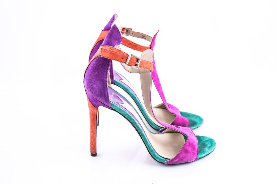 398281ed844 Brian Atwood Multicolor Leigha Suede T-strap Sandals Size US 10 Regular (M