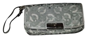 Coach Large Op Art Wristlet in gray with silver hardware
