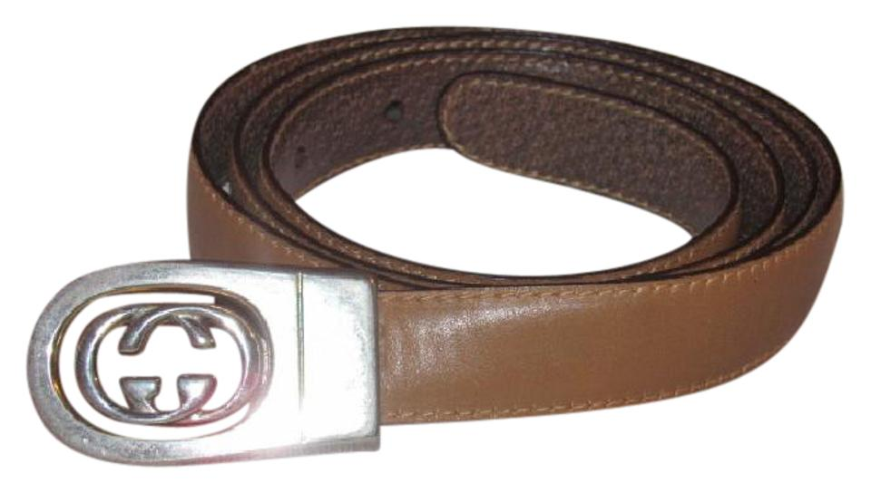 2f1bd1d08d3 Gucci Brown   Camel Leather with Two-tone Gg Logo Buckle Vintage ...