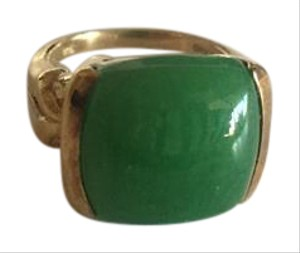 Savvy Cie Gorgeous Green Jade gold plated 925 silver Ring sz 6