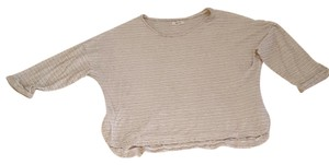 Madewell T Shirt Natural beige and dark blue striped/ coton and linen material