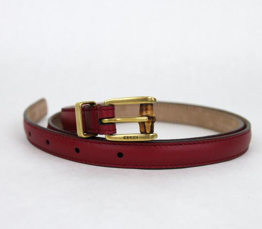 Gucci GUCCI Leather Belt w/Bamboo Buckle Raspberry 80/32 339065 6236 Image 3