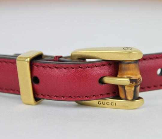 Gucci GUCCI Leather Belt w/Bamboo Buckle Raspberry 95/38 339065 6236 Image 2