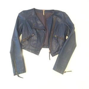 Free People Navy Leather Jacket