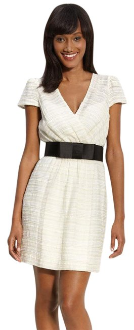 Milly of New York Ivory Allison' Metallic Jacquard Faux Wrap Short Cocktail Dress Size 10 (M) Milly of New York Ivory Allison' Metallic Jacquard Faux Wrap Short Cocktail Dress Size 10 (M) Image 1