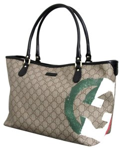 Gucci Handbag Italian Flag Tote in Beige/Ebony