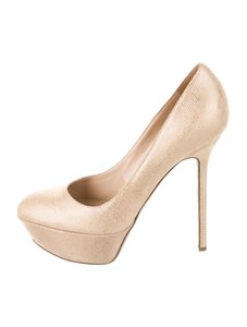 Sergio Rossi Gold Stiletto High Heel Gold-tone lizard skin Pumps