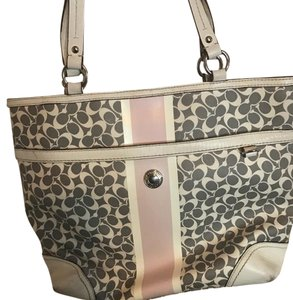 Coach Tote in Gray pink and white