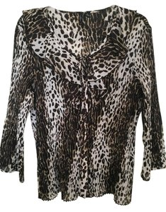 Essentials by Milano Long Sleeves Brown/White Leopard Button Down Shirt brown/white