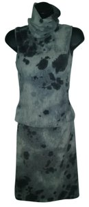 Roberto Cavalli Spotted Angora Sleeveless Turtleneck Top & Skirt