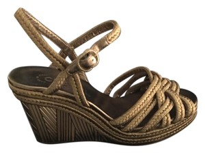 Chanel Art New With Box Gold Wedges