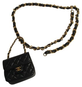 Chanel Vintage Chanel Lambskin Chain Belt With Micro Mini 2.55 Bag Charm
