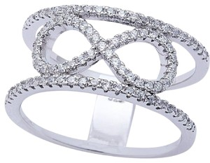 9.2.5 Rare infinity white sapphire love knot wide cocktail ring. Size 8