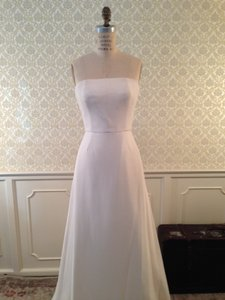 Peter Langner White Silk Wool Crepe 6/8 Italian Modern Sleek Simple Stunning Sexy Wedding Dress Size 6 (S)