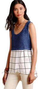 Anthropologie Terry Upper Cross Front Bottom Top Blue + White