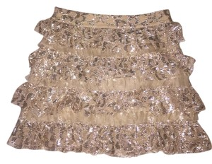 Alice + Olivia + Ruffle Layered Mini Skirt Gold
