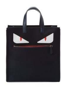 Fendi Monster Designer Handbag Nylon Tote in blue