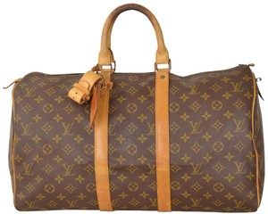 Louis Vuitton Duffle Duffel Gym Keepall Suitcase Brown Travel Bag