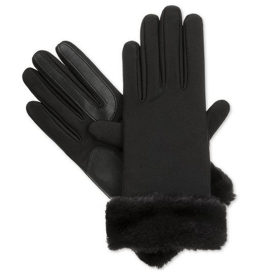 Isotoner Black Stretch Faux Fur Cuff smarTouch Lined Womens Gloves M L Image 1