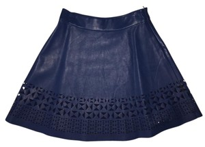 Boundary Waters Cut-out Faux Leather Vegan Leather Neiman Marcus Mini Skirt Navy