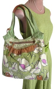Fossil Excel Price Pretty Clean Inside + Out Key Included Trending At $37 Used Tote in GREEN MULTI CANVAS + LEATHER