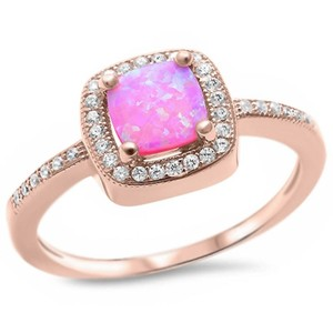 9.2.5 Unique pink fire opal rose gold silver ring size 7