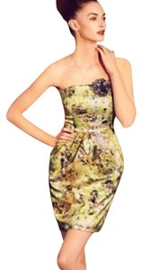 McGinn Silk Print Strapless Shift Sheath Dress