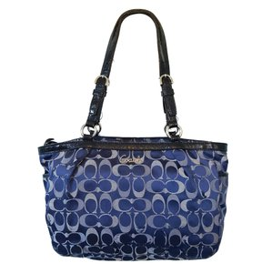 Coach Signature Jacquard Patent Leather Silver Hardware 3 Tote in Blue Monogram