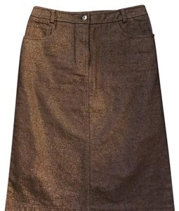 French Connection Skirt Dark Brown with metallic threading .