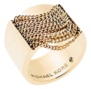Michael Kors NWT MICHAEL KORS GOLD TONE CHAIN RING SIZE 8 MKJ5795 W DUST BAG