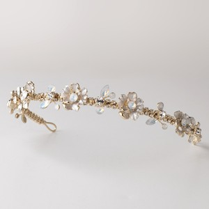 Elegance By Carbonneau Opal And Crystal Light Gold Floral Wedding Headband