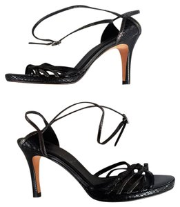 Cole Haan Strappy Snakeskin Stacked Heel Black Platforms