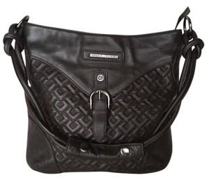 Donald J. Pliner Leather Quilted Gunmetal Handbag Designer Shoulder Bag