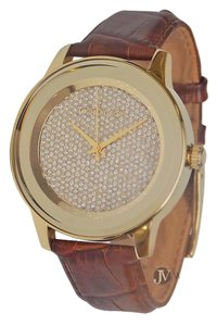Michael Kors NEW WOMENS MICHAEL KORS (MK2455) KINLEY BROWN LEATHER GLITZ GOLD TONE