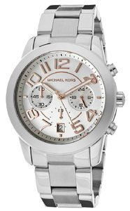 Michael Kors NEW WOMENS MICHAEL KORS (MK5725) RUNWAY MERCER SILVER CHRONO WATCH