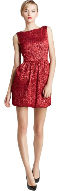 Alice + Olivia Red Vita Leopard Print Short Cocktail Dress Size 2 (XS) Alice + Olivia Red Vita Leopard Print Short Cocktail Dress Size 2 (XS) Image 1