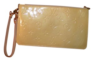 Louis Vuitton Lv Logo Pochette Wristlet Yellow Clutch