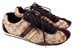 Coach Katelyn Canvas Suede Leather Signature Brown and Beige Athletic