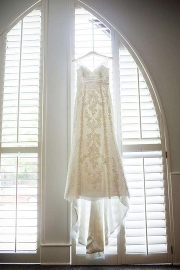 Priscilla of Boston Ivory Off White Sheath Overlay Silk Lace Jl223 Feminine Wedding Dress Size 10 (M)