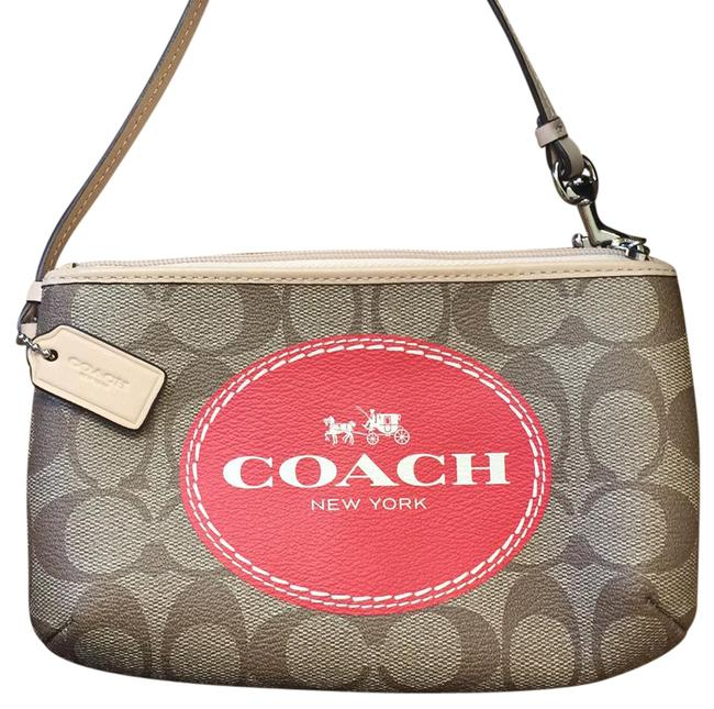 Coach Brown/Red Nwot Logo Wristlet Wallet Coach Brown/Red Nwot Logo Wristlet Wallet Image 1