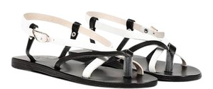 Ancient Greek Sandals Leather Eclectic Black White Sandals