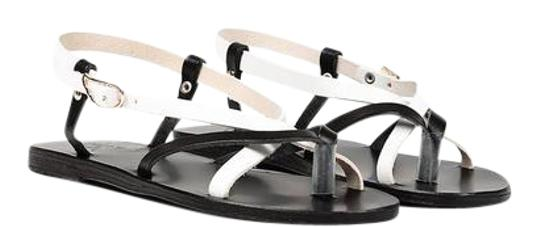 Ancient Greek Sandals Leather Eclectic Black White Sandals Image 0