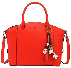 Tory Burch Pebbled Leather Satchel in Samba