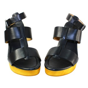 Madewell Wedge Leather Rubber Sole Black Sandals