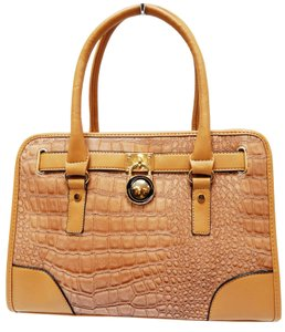 Vecceli Italy Faux Leather Satchel Handbag Alligator Leather Tote in Apricot