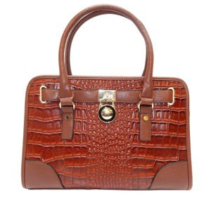 Vecceli Italy Faux Leather Satchel Handbag Alligator Leather Tote in Coffee