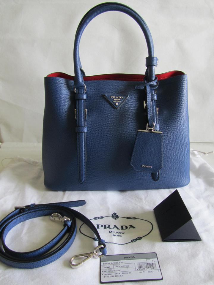 dff887b9b21b Prada Double (Like New) Small Saffiano Cuir Navy Blue Tote - Tradesy