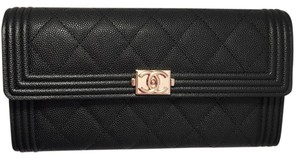 Chanel Limited Edition Chanel Long Boy Flap Wallet in Black Caviar