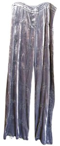 Johnny Was Velvet Embroidered Wide Leg Pants Grey