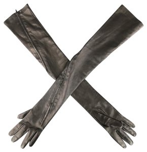 Yohji Yamamoto Black Leather Zip Up Elbow Length Opera Gloves